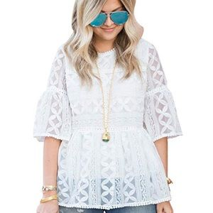 Chicwish White Lace Overlay Top